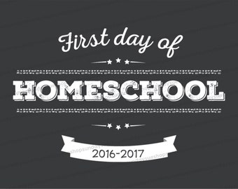 First Day of Homeschool Printable; All grades included; Chalkboard style