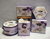 Dollhouse Miniature Hatboxes, Storage Boxes, and Shopping Bag                                                       LADY VIOLET COLLECTION 1