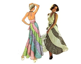Groovy 1970's Bias Swirl Skirt  and Halter Top Pattern Maxi Skirt and Wraparound Halter Simplicity 6312 Bust 29 30 Vintage Sewing Pattern