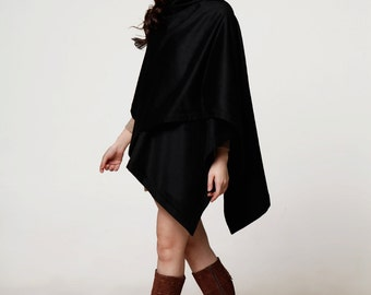 2015 Black Cape Coat Wool Winter Shawl Wool Cloak Cashmere Cape Jacket for Women - NC580