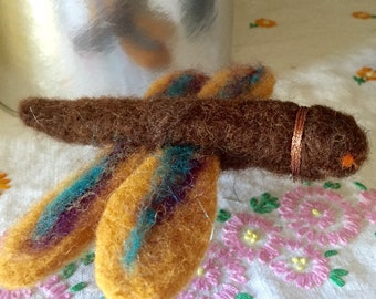 Needle felted dragonfly, ornament
