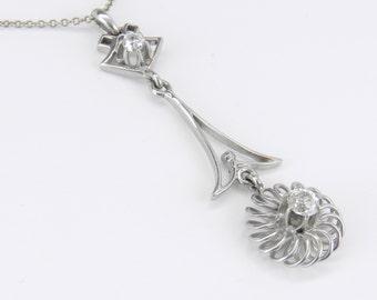 "Antique Diamond Pendant 18K White Gold Rare Old Miner Halo Necklace 16"" Chain"