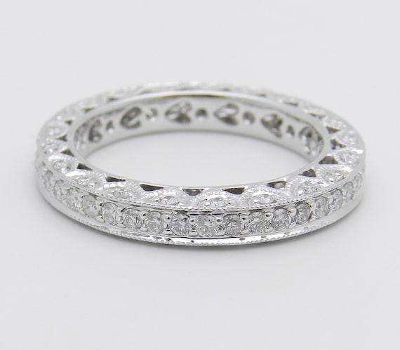 18K White Gold Diamond Eternity Wedding Ring Anniversary Band Size 6