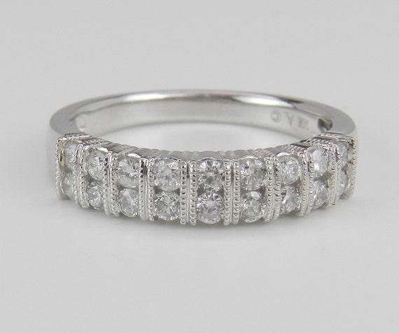 Diamond Wedding Ring Anniversary Band White Gold Size 7 Double Row Round
