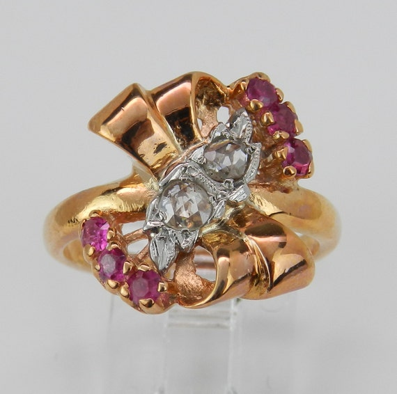 Diamond and Ruby Cocktail Ring Vintage Retro Ring 14K Pink Gold Rose Cut Size 6.25 Circa 1940's