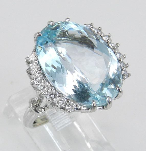 Antique Aquamarine Ring Diamond Ring Vintage Ring Aqua Ring 14K White Gold