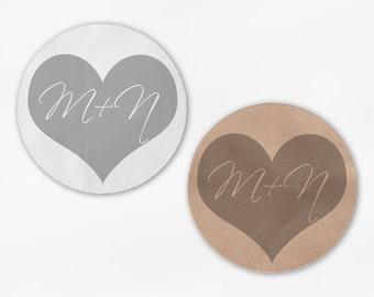 Initials in Heart Wedding Favor Stickers - Light Gray Custom White Or Kraft Round Labels for Bag Seals, Envelopes, Mason Jars (2006)