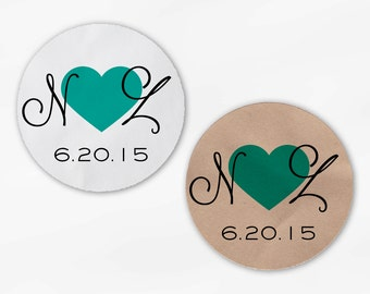 Initials and Heart Wedding Favor Stickers - Teal Green Custom Candy Buffet White, Kraft Round Labels for Bag Seals, Envelopes (2021)