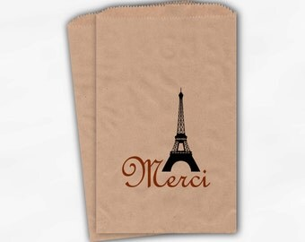 French Style Wedding Candy Buffet Bags - Dark Orange Eiffel Tower Favor Bags with Merci on Kraft Paper - Thank You Paper Treat Bags (0023)