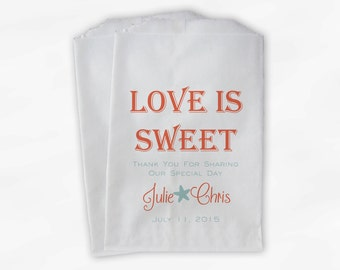 Love Is Sweet Wedding Candy Buffet Treat Bags with Starfish - Personalized Favor Bags in Coral and Seafoam - Custom Paper Bags (0069)