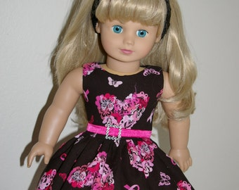 ON SALE/Breast Cancer Awareness doll dress and headband