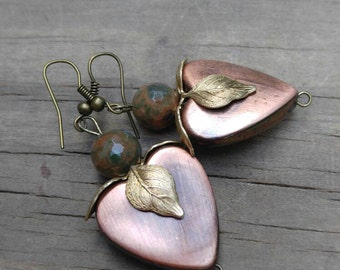 Copper heart earrings with gold leaf jewelry earring dangle drop boho earring copper heart gypsy girl gold leaf accent EBE002