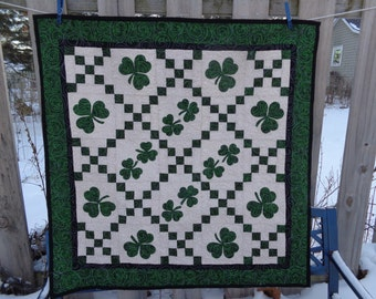 Irish Chain and Shamrock Quilt, Irish Quilt, St. Patrick's Quilt, Green 0110-05