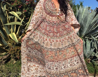 Tapestry Dress// Vintage Indian Cotton Dress// 1970s Dress//Bohemian Handmade Indian Kaftan/Angel Sleeves