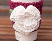 Crochet Coffee Cup Cozy - Ruby Red with Cream Rose