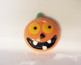 6CT. Halloween Pumpkin Jack-o'-lantern Resin Cabochons, Orange, 25mm*22mm*8mm