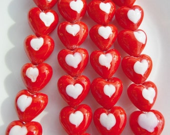 6 Count, 20mm Lampwork Heart Beads, Red & White Heart Glass Beads, S19
