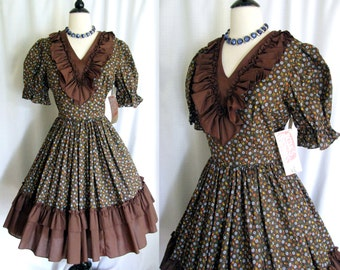 Vintage 1960s Dress Jacques Originals Rockabilly Cowgirl Square Dance Full Circle NOS Medium