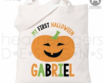 Halloween Trick or Treat Bag - Personalized Halloween Pumpkin Bag - 1st Halloween Trick or Treat Bag