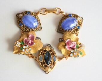 Wedding Bracelet, Made with Vintage Jewelry, Bridal Jewelry, Charm Bracelet, Wedding Jewelry, Vintage Bracelet, Vintage Jewelry, Bridesmaids