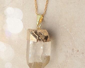 Boho Jewelry Crystal Quartz Statement Necklace Pendant Necklace Bridesmaid Gift Bridal Gift Set Jewelry Limonbijoux