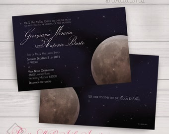 Wedding, Birthday, Shower, Event Invitations. Moon, Full Moon, Blue, Sky, Stars. Printed orders/DIY/Samples all available.