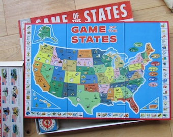 1960 Milton Bradley Game of the States Board Game COMPLETE