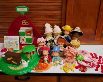 Large Lot Strawberry Shortcake 10 Dolls with Bakery Shoppe Set Plus Extra