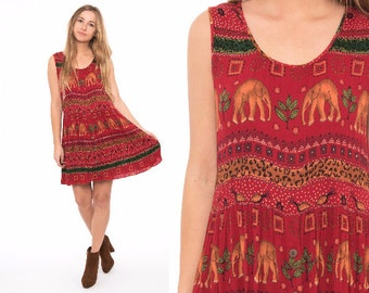Vintage 90's Red Indian Ethnic Tribal Print Gauze Babydoll Mini Dress