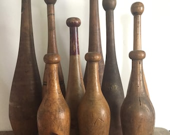 Set of 4 Antique Wooden Juggling Pins, Circus, Indian Clubs, Wooden Clubs,