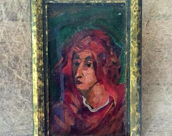 Antique miniature portrait - oil on canvas