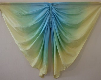 Not so Perfect 3- Butterfly Wings Costume, Pure Silk Wings, Fairy Wings, Waldorf Dress Up Wings - Blue, Green and Yellow