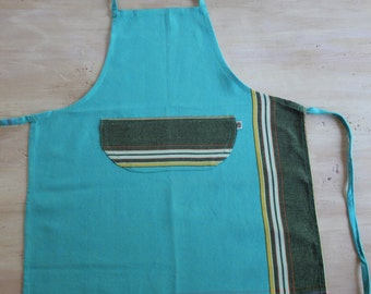 Kids Apron, Traditional Green Petrol Kikoy Apron, Child Medium