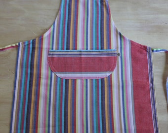 Children's Apron, Kikoy Apron in Rainbow Stripes, Kids Apron - Medium