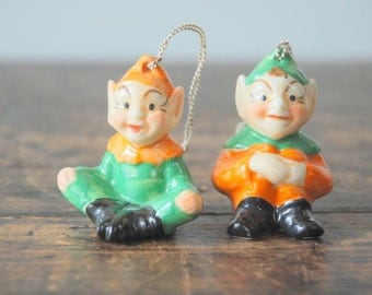 Pair of Vintage MZ Dresden Ireland Ceramic Elf / Pixie Ornaments