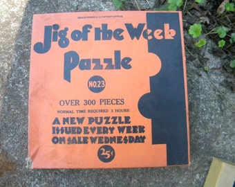 never used or opened vintage antique 1930s 1940s JIG  of the WEEK PUZZLE number 23 hunters 2 dogs