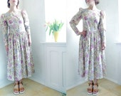 Vintage Laura Ashley Dress Floral Midi Dress Long Sleeves/ Size Medium, Romantic dreamy feminine Soft Spring colors Womens Summer dress