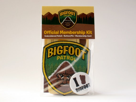 Bigfoot Patrol Membership Kit: Embroidered Patch, Card, Button/Pin (Velcro hook & loop available)