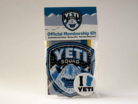 Yeti Squad Membership Kit: Embroidered Patch, Card, Button/Pin (Velcro hook & loop available)
