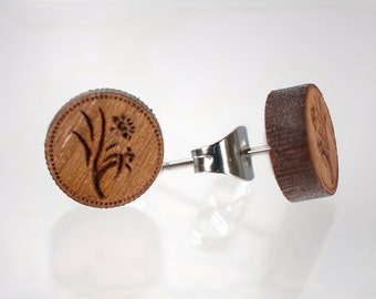 Wooden Post Earrings Floral Design on Surgical Steel or 14K Gold Filled Posts