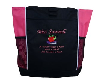Tote Bag Personalized Teacher Aide Assistant Librarian Reading Specialist Teaching Books Apple Takes Hand Open Minds Touches a Heart
