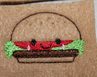 Smiley hamburger feltie, set of 4 felt hamburgers with smile, for hair accessories, scrap booking or crafts