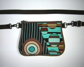 Hip Bag belt bag Small Sling Purse fanny pack Handmade Pod Pack cellphone cover mini shoulder mixed fabrics Brown Turquoise with circles