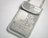 iPhone 6 Case Neck Purse Mini Crossbody Bag Elegante Smartphone Cover Handmade Phone Pouch japanese purse satin brocade fabrics silver gray
