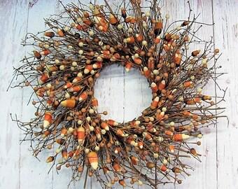 Halloween Decor - Halloween Candy Corn Wreath - Fall Wreath - Primitive Wreath - Halloween Door Wreath - Halloween Wreath - Fall Home