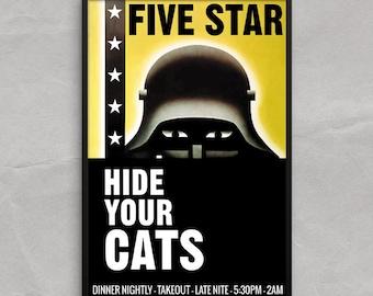 Hide Your Cats, Cold War Poster or Framed Print, Vintage Restaurant Ad
