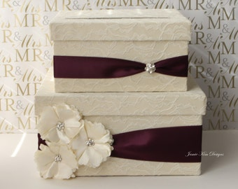 Laced Wedding Card Box, Money Holder, Money Card Box - Custom Card Box