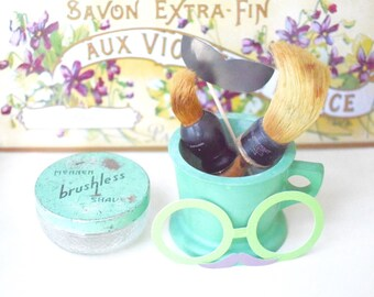Vintage Shaving Set with Mug Brushes Cream Jar Mennen Advertising