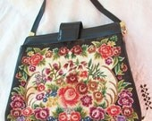 Vintage ROSES Purse ~ Black with Flowers ~ Petit Point Style ~ Bohemian/ Gypsy Style ~ Romantic & Feminine ~ Metal Zippered top