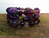 Handmade Memory Wire Bracelet Purple Amethyst